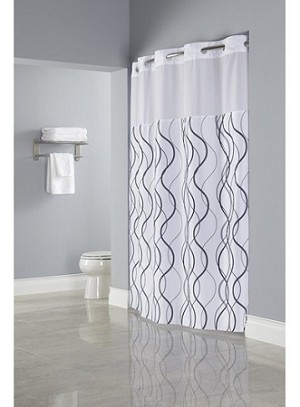Hookless Waves Sheer Polyester Shower Curtain With Window 71x77 White Grey Black Its A Snap