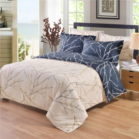 Navy Blue Fl Print Pattern Double Side Bedding Collection 2pcs White Duvet Cover Set Ultra Soft Microfiber Twin Size
