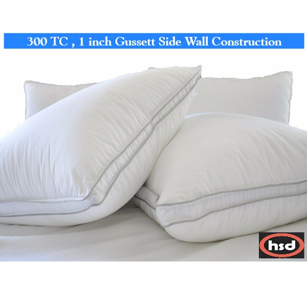 Standard size-Natural Comfort-Allergy-Shield s Anti-Dustmite Microfiber 300 TC Pillow, Set of Two (2) Gusseted Sidewall Pillows