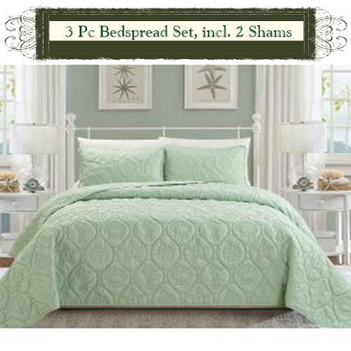 SAGE Color-Luxury Queen Size 3-piece Cotton Quilt Bedspread Set, Puff Design, Starting at $40.50 each