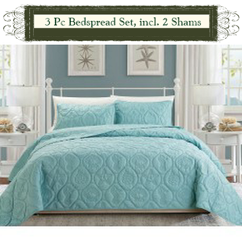 SPA BLUE Color-Luxury Queen Size 3-piece Cotton Quilt Bedspread Set, Puff Design, Starting at $40.50 each
