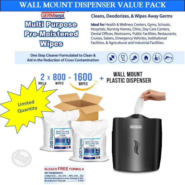 GERMISEPT-WALL MOUNT Dispenser Value Pack -Multipurpose Gym & Wellness Center Cleaning Wipes (2 x 800 Ct Wipes+1 Dispenser) low as $130.20