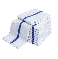 BLUE CENTER STRIPE TOWELS,  20x40