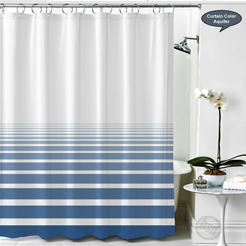 RuJan HORIZON Polyester Shower Curtain Lines Faded Horizontally