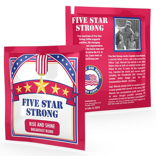 FIVE STAR STRONG- DECAF. Coffee-100% High Mountain Grown Arabica, Rise And Shine Breakfast Blend - 1 CUP-Single Serve 9 gram POD, 200/Case