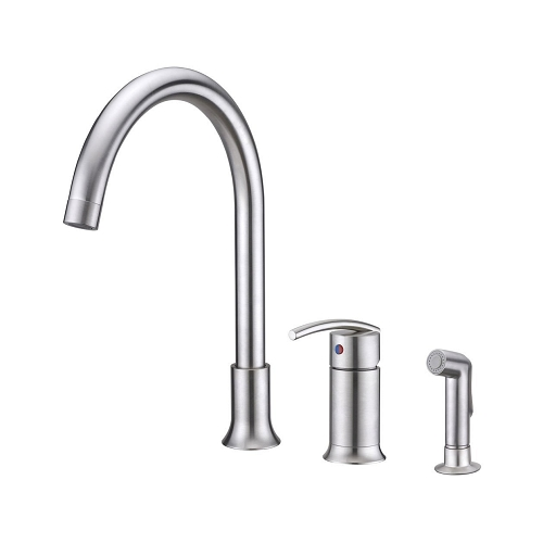 Ultra Faucets UF11143 Contemporary Sweep Collection Single-Handle Kitchen Faucet with Side-Spray, Stainless Steel (low as $180.20)