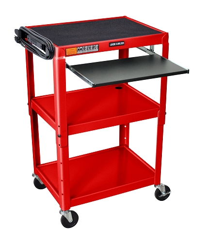 Luxor / H. Wilson #AVJ42KB- RD Adjustable Height Steel A/V Cart - Pullout Tray, Red