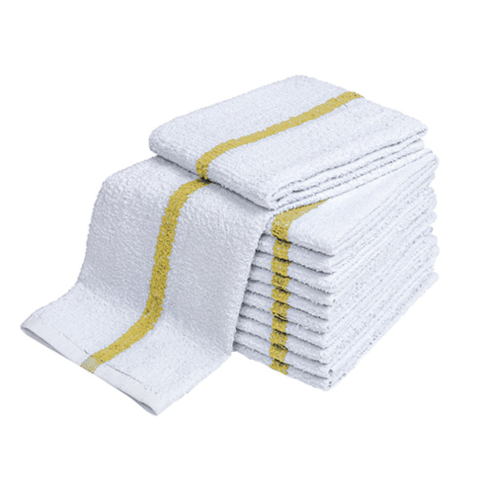 GOLD CENTER STRIPE TOWELS, 10's-100% Cotton,  Hand Towels, 2.75 lb/dz, 16x27