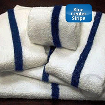 HOTEL MOTEL - Pool Towels with Blue Center Stripe, Economical, 100% Cotton, Cam Border, 24 inch x 48 inch, 8.00 Lb/Dz  Price each, Sold by the Dozen.