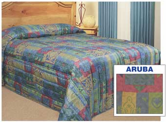 Hotel / Resort Treveira,Quilted Polyester Bedspread-ARUBA Pattern, King size, Price Each