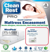 15YR-Warranty-Clean Rest Simple Bed Bug & Allergen Blocking MATTRESS Encasement Zip-N-Click, Each