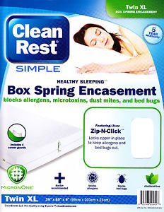5YR-Warranty-Clean Rest Simple Bed Bug & Allergen Blocking Box Spring Encasement Zip-N-Click, Each