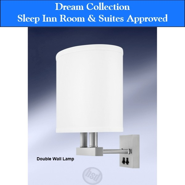 Sleep Inn Room & Suites-Approved Hotel Double Wall Lamp with Electrical Rocker Switch, Brush Steel (starting at $89.25 each)