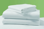 Upscale 310 Thread Count, 100% Cotton Sateen, White - Queen Flat Size, 90x110