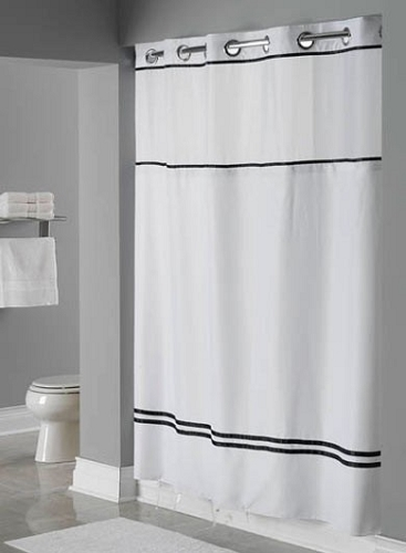 Hookless® ESCAPE Shower Curtain, Satin Stripes, Translucent Window ...