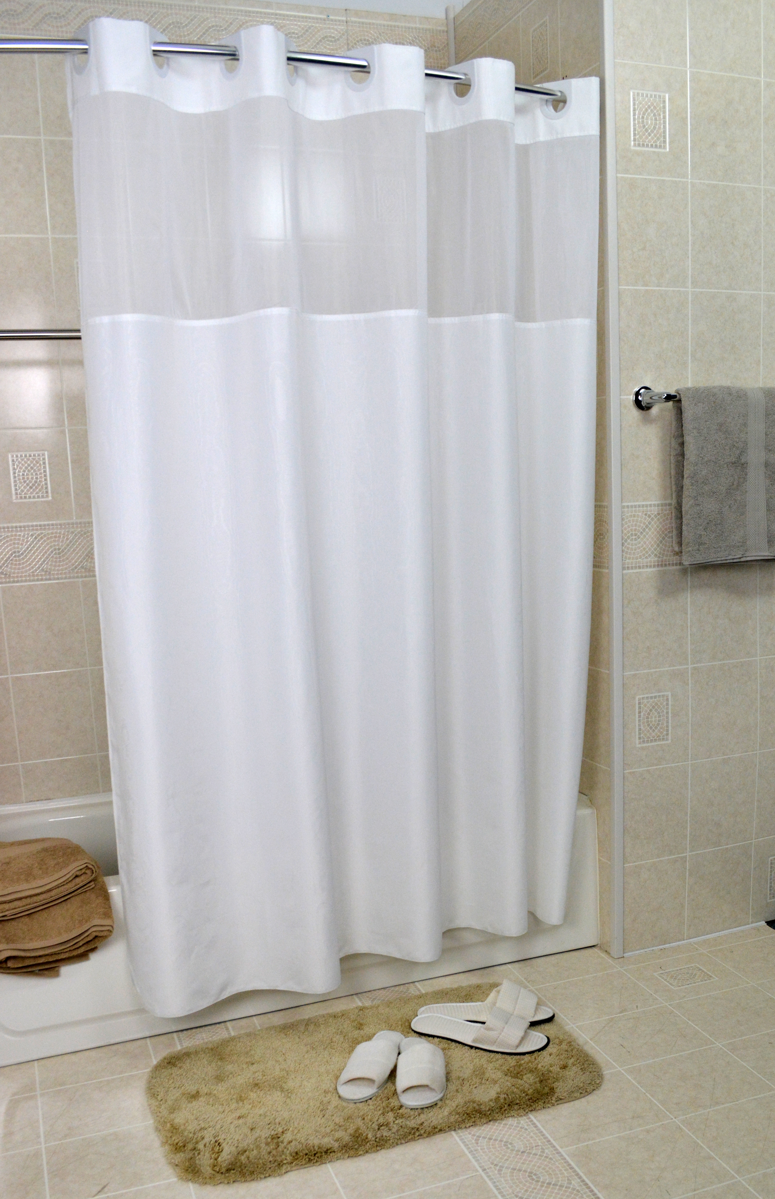 72W X 74L Snap Liner Ezy Hang MOIRE Hotel Casino Shower Curtain