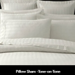 Pillow Sham 60% Cotton / 40% Polyester, White Cambric, 250 TC, Tone-on-Tone STRIPE, Standard, 21 x 21
