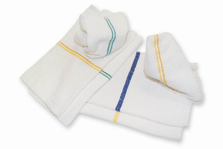 Economy 100% Cotton, 10's BLUE CENTER STRIPE Pool Hand Towels, 2.75 lb/dz, 16x27