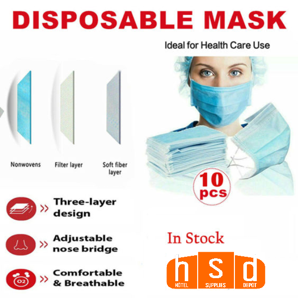Blue 3- layer woven disposable Unisex face mask, adjustable nose clip. Elastic Ear Loops, pack of 10