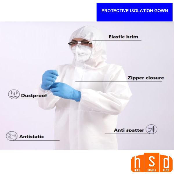 PPE-Protective Isolation Gowns. Elastic brim, zipper closure, dust proof, anti splatter, anti static. Not for Medical Use, low as $22.95