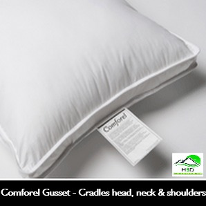 FREE SHIPPING-COMFOREL GUSSET, CLUSTER FIBER PILLOW, 100% Cotton, T-230 Ticking. Standard, 22oz, Case of 12.