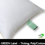 STANDARD Size: GREEN LABEL /GREEN CHOICE Hotel Pillow, Polyester / Cotton Ticking, (Case of 12 Pillows)