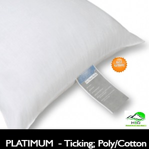 QUEEN Size: PLATINUM LABEL Hotel Pillow, Premium polyes­ter/cotton fiber Ticking (Case of 10 Pillows)