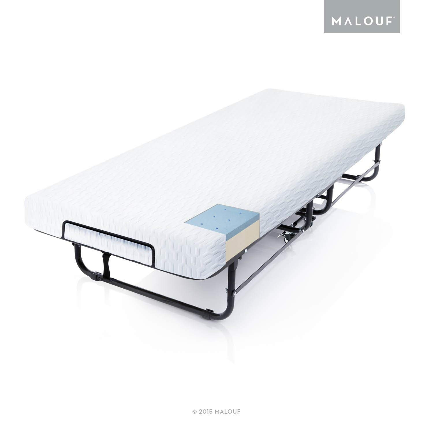 Cot Size Rollaway Folding, 5-Year Warranty-Structures Hospitality/Guest Bed with Premium Gel Memory Foam Mattress, by MALOUF