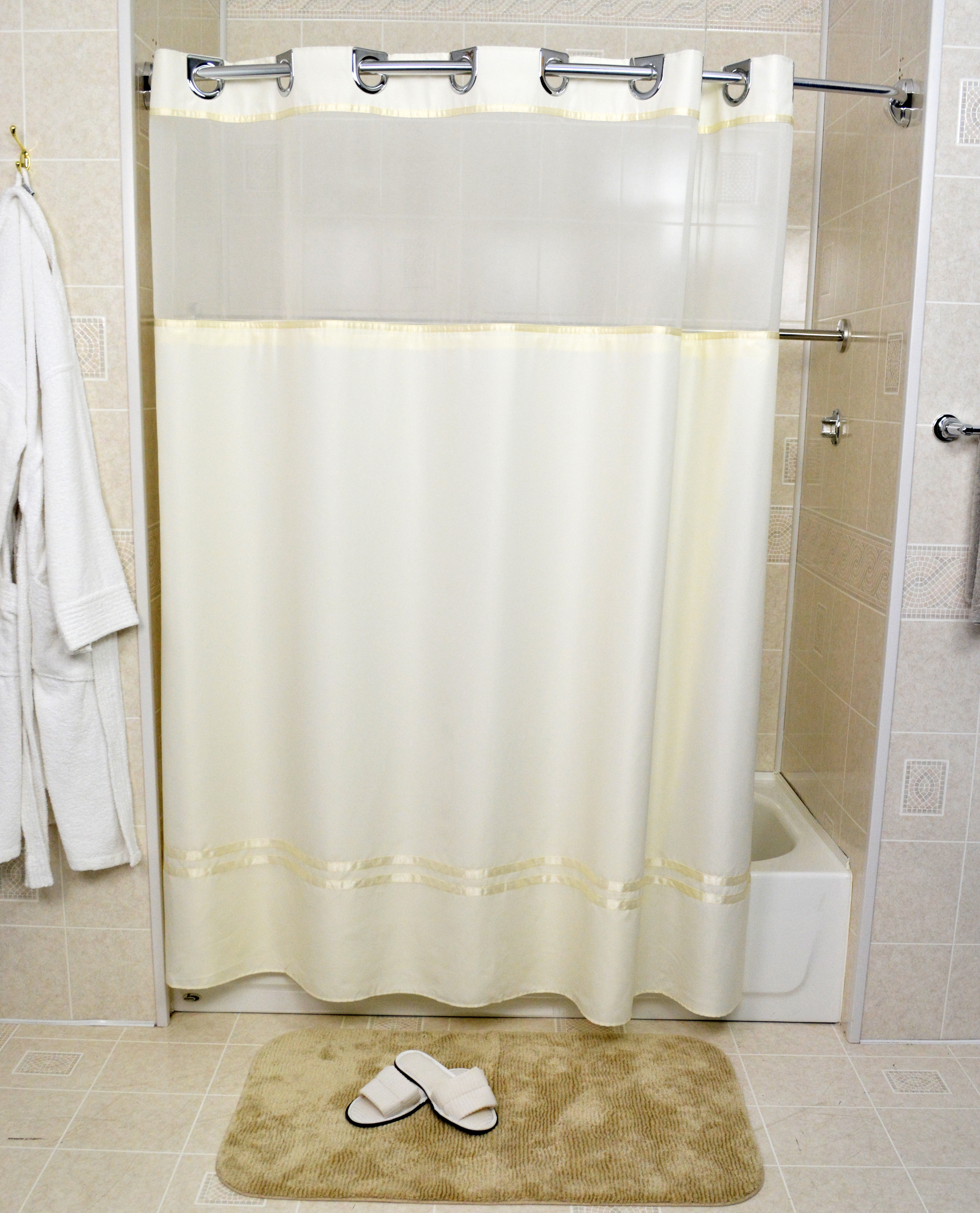 Beige with Beige Ribbon : EZY Hang MATT SATIN, Casino Hotel Shower Curtain with Snap on liner, 100% polyester 72