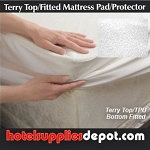 Mattress pads, Fitted Waterproof Terry Cotton Top/TPU Bottom , 39x75