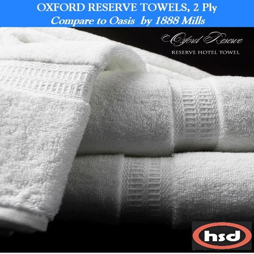 OXFORD RESERVE HOTEL RESORT UPSCALE SPA -100% Combed 2 Ply Cotton, Bath Towels 30x60