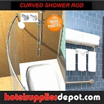 ROUND Curved Shower Rod, Stainless Steel, 5 Ft. Round, Brush Finish (Case of 12 low as $ 19.80 each).