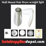 HOTEL Wall Mount Hair Dryer w/Night Light, 1500 Watts, Auto Shut Off, Night Light, ALCI Safety Plug, White (Low as $22.00)