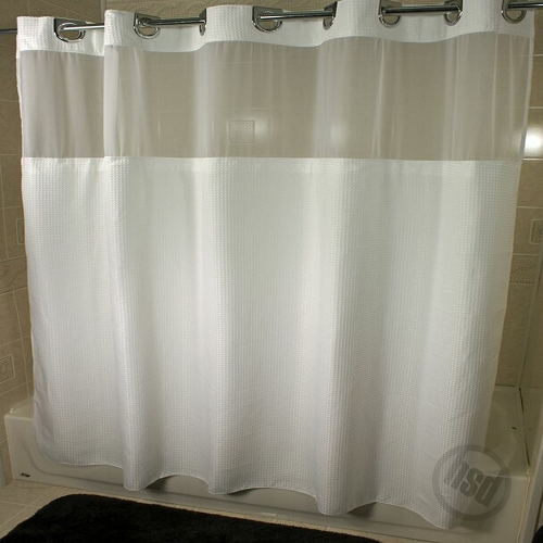 Rujan Mini Waffle Polyester Shower Curtain See Thru Top Window