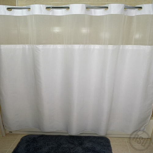 RuJan Peek-A-Boo MOIRE Style Polyester Shower Curtain, See-Thru Top ...