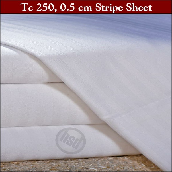 T-250, White, 0.5 Cm Stripe, 66 in x 108 in: TWIN FLAT Hotel Casino Sheets,Tone on Tone, OXFORD SUPER BLEND Mercerized Wrinkle Free, 60/40 Cotton/Poly, (Low as $78.85 dz, 6dz+)