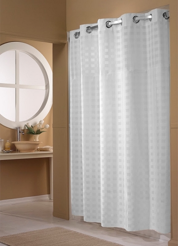 WHITE SHIMMY SQUARE BASKET WEAVE HOOKLESSR SHOWER CURTAIN100