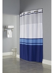 Hookless HBH49CBK01SL77 Blue Print Brooks Shower Curtain with Matching Flat Flex-On Rings, It's A Snap! Polyester Liner with Magnets, and Poly-Voile Translucent Window - 71