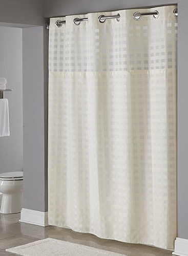 BASKET WEAVE BEIGE HOOKLESS® SHOWER CURTAIN,100% Polyester Shower Curtain  With Snap Liner