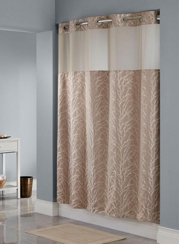 HOOKLESSR TREE BRANCH TAUPE SHOWER CURTAIN100 Polyester Shower Curtain With Snap