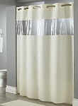 HOTEL HOOKLESS WINDOW TOP VIEW, 100% Polyester Shower curtain w/SHEER VOILE Window, 71x74- White (Low as $16.10 each)