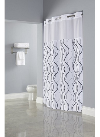 HooklessR WAVES SHEER Polyester Hotel Shower Curtain With Window 71x77
