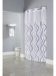 Hookless® WAVES SHEER Polyester HOTEL Casino Shower Curtain with Window, 71x77