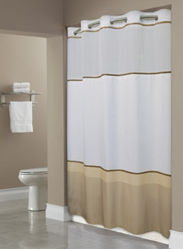 NEW HOOKLESSR WELLINGTON TAUPE SHOWER CURTAIN100 Polyester Shower Curtain With Snap Liner 71x74 Case Of 12 Low As 3229 Each