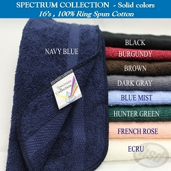 SOLID COLORS-Hotel SPECTRUM Brand, 100% Ring Spun Cotton, Hand Towel, 16x27