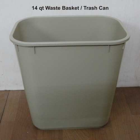 Economy Series: Hotel Durable Plastic Wastebasket:14 Qt- Capacity .Case of 12, Price Per Can.