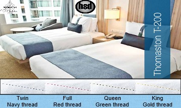 HOTEL 200 Tc  60% Cotton/40% White Percale Elegance Casino Sheets, QUEEN FLAT - 91 x 110