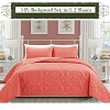 Coral Color-Luxury Queen Size 3-piece Cotton Quilt Bedspread Set, Puff Design, Starting at $40.50 each