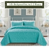 TURQUOISE Color-Luxury Queen Size 3-piece Cotton Quilt Bedspread Set, Puff Design, Starting at $40.50 each
