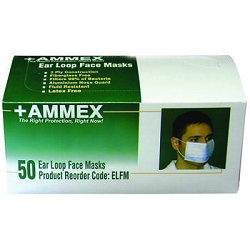 AMMEX Ear Loop Face Masks (Case of 600 masks). Filtration up to 3 microns. Low as $0.11 cents